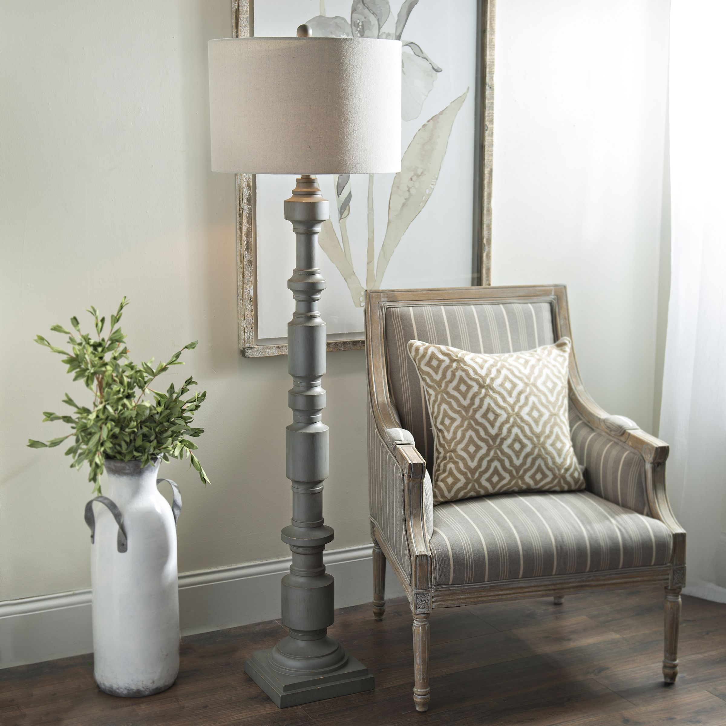 Weathered Gray Cylinders Floor Lamp With Images Floor Lamps