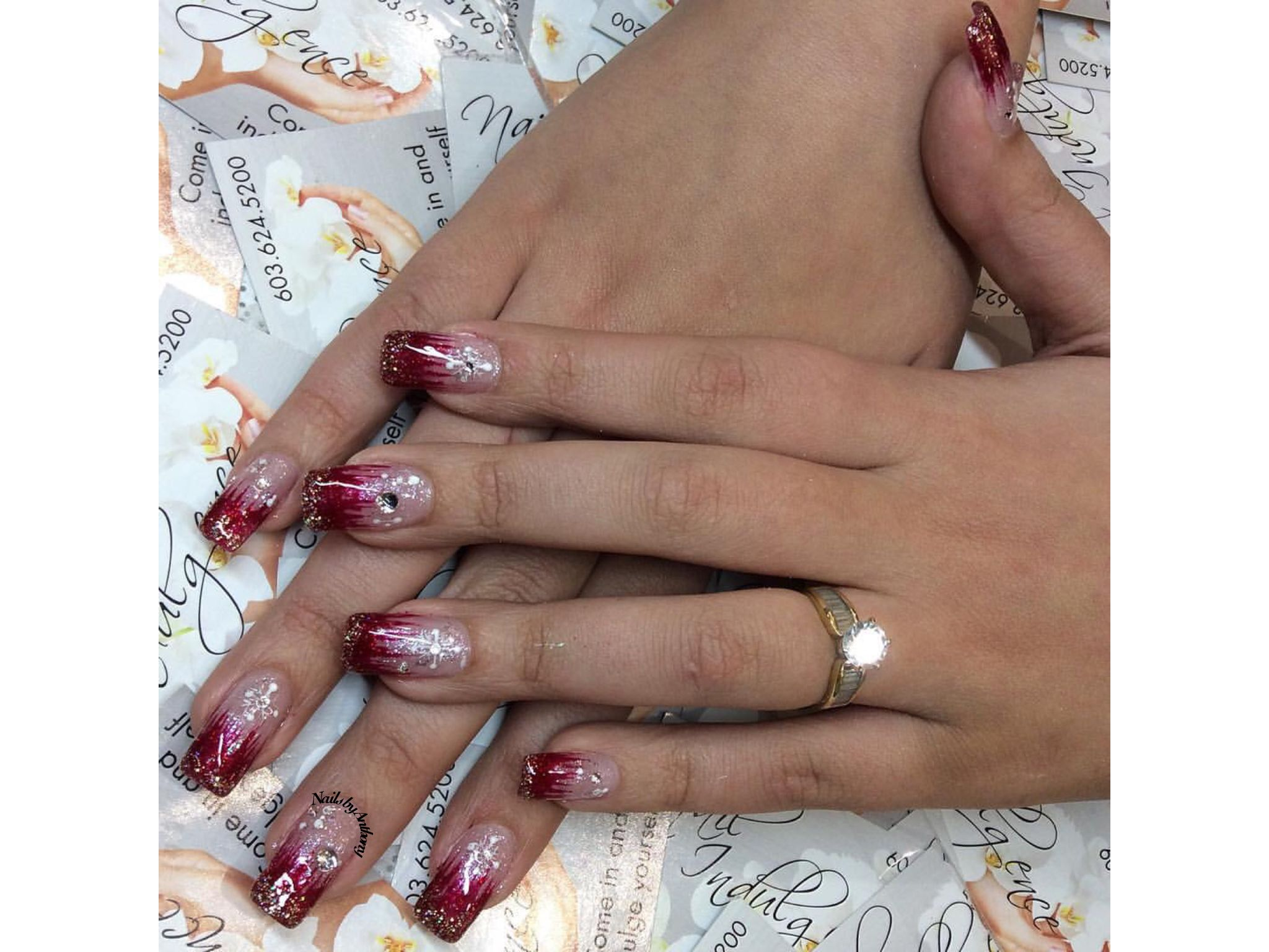 Red shimmer. Nails by Anthony