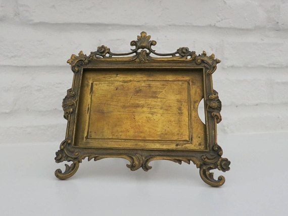 antique french ormolu picture frame easel back ornate brass photo