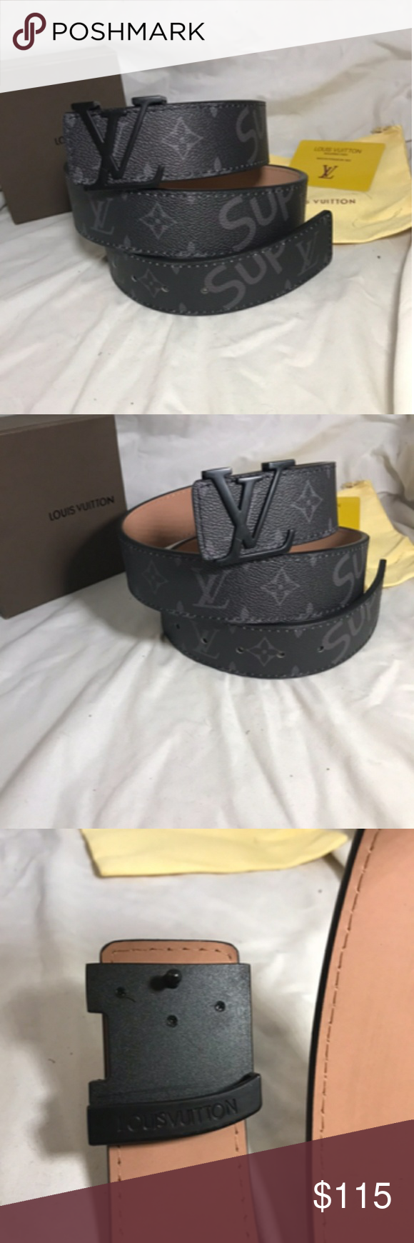 46d080e91d0b Black LV x Supreme Belt Size 34-36 Brand New With Box You get what you  see.. Louis Vuitton Accessories Belts