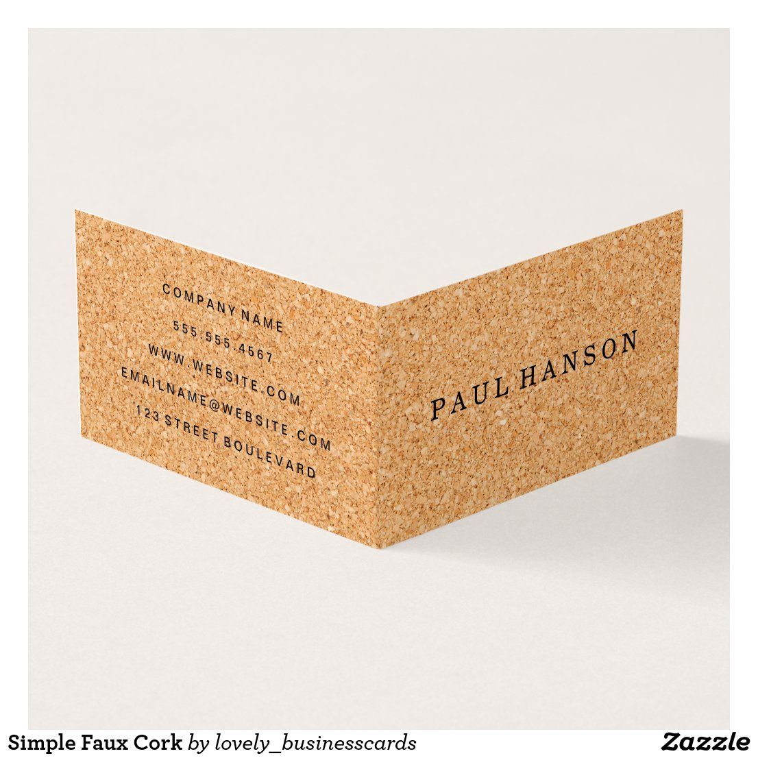 Simple Faux Cork Business Card Zazzle Com In 2021 Business Cards Simple Folded Business Cards Professional Business Cards