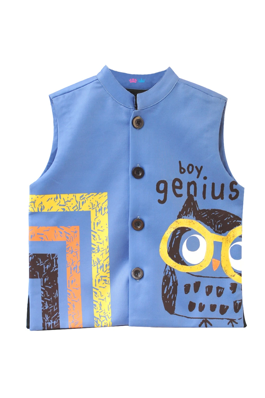 Band Neck Owl Printed Nehru Jacket Boys clothes style