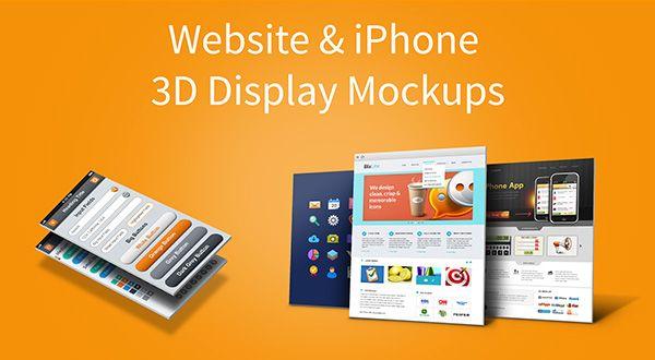 Website Iphone 3d Display Mockups Display Mockup Mockup Free Psd Website Mockup