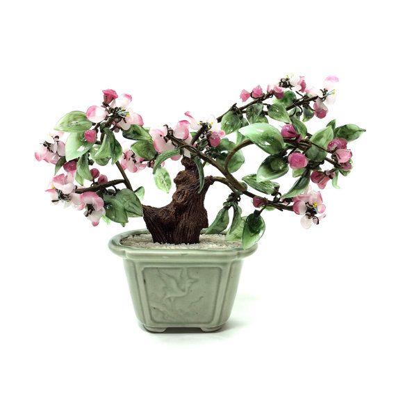 Vintage Glass Bonsai Tree Faux Cherry Blossom Plant 12 Wide By 10 Tall Bonsai Tree Jade Tree Bonsai Styles