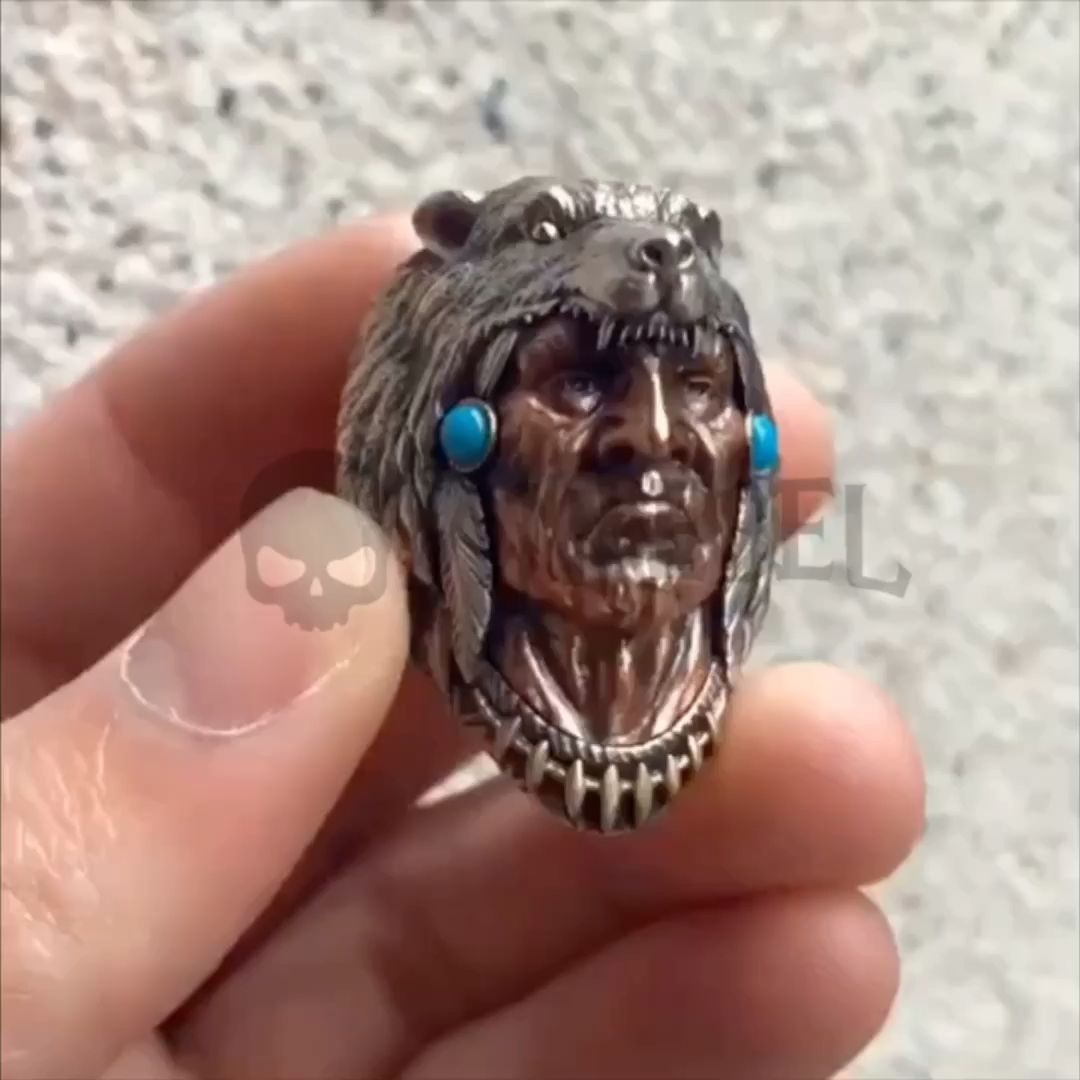 American Indian Wolfs Solid Sterling Silver 925 Rings Bikers Rock Rebels Warriors Animals – ANREBEL