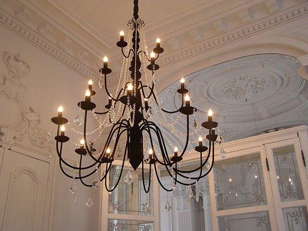 Lustre Bardini 12+6 - noir - 18x40w E14 - lustre pour salle a manger