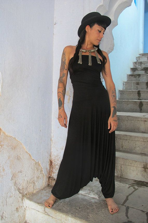 0b386c6248 Black Harem Jumpsuit, Woman's Bohemian Strapless Jumpsuit, Women's ...