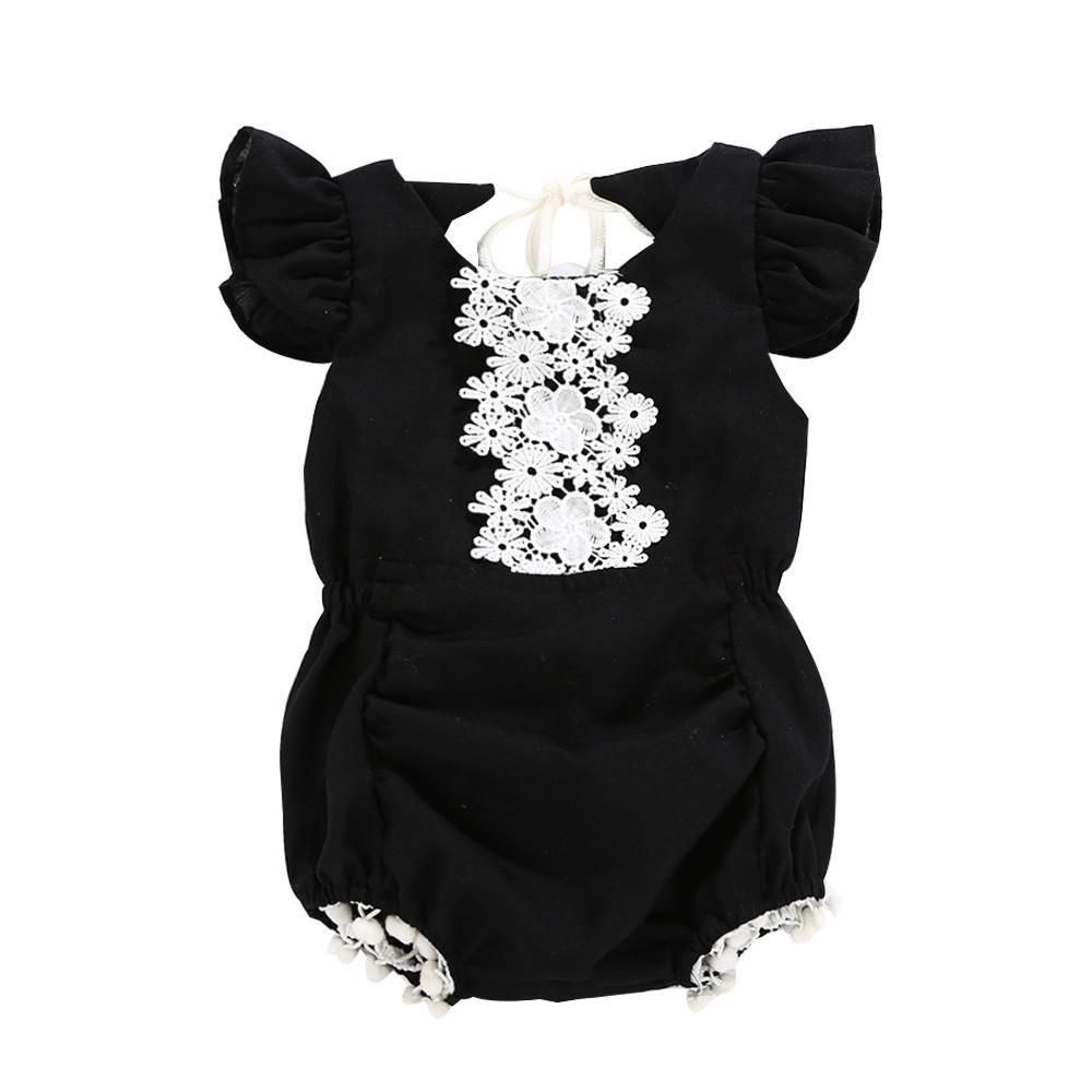 cfd1125b8 One-piece romper - Backless - Ruffle sleeves - Adjustable tie-top ...