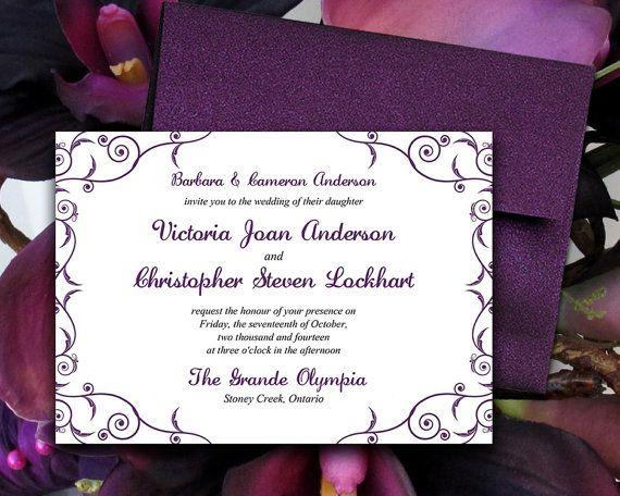 Diy Wedding Invitation Template Decadence Eggplant Purple X