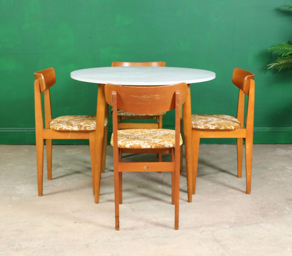 retro round formica kitchen table  4 chairs dining