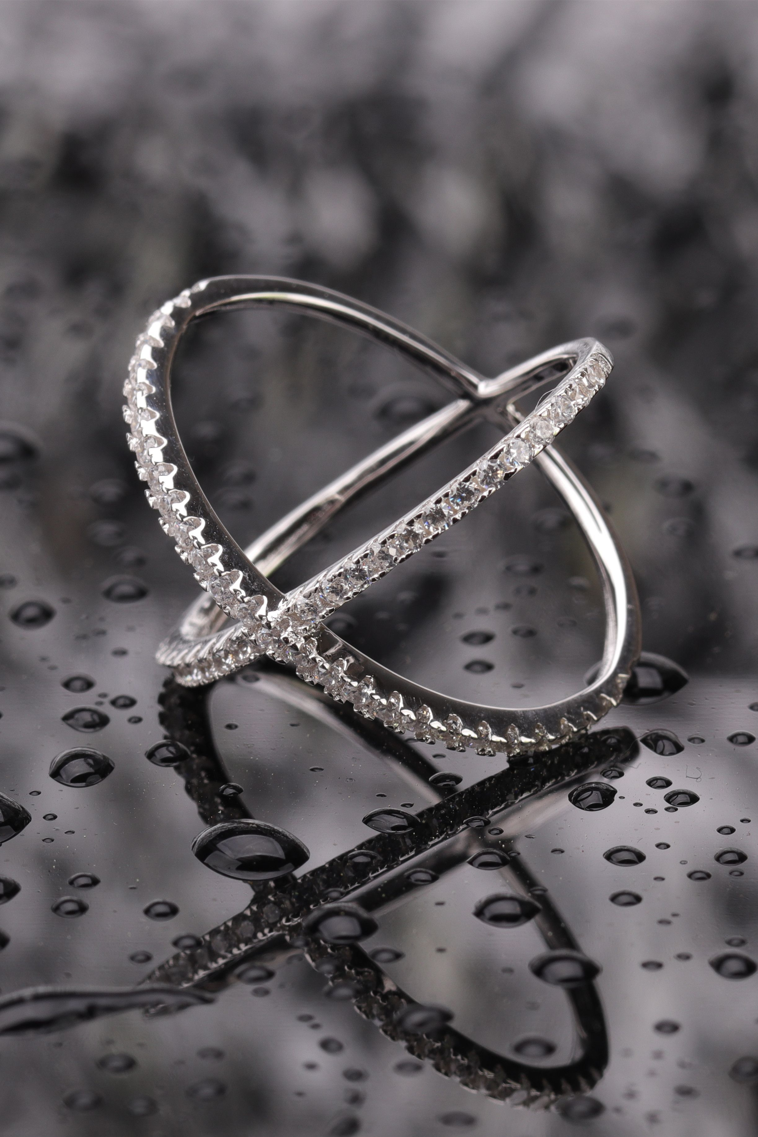 Sterling Silver Criss Cross Rings with Cubic Zirconia