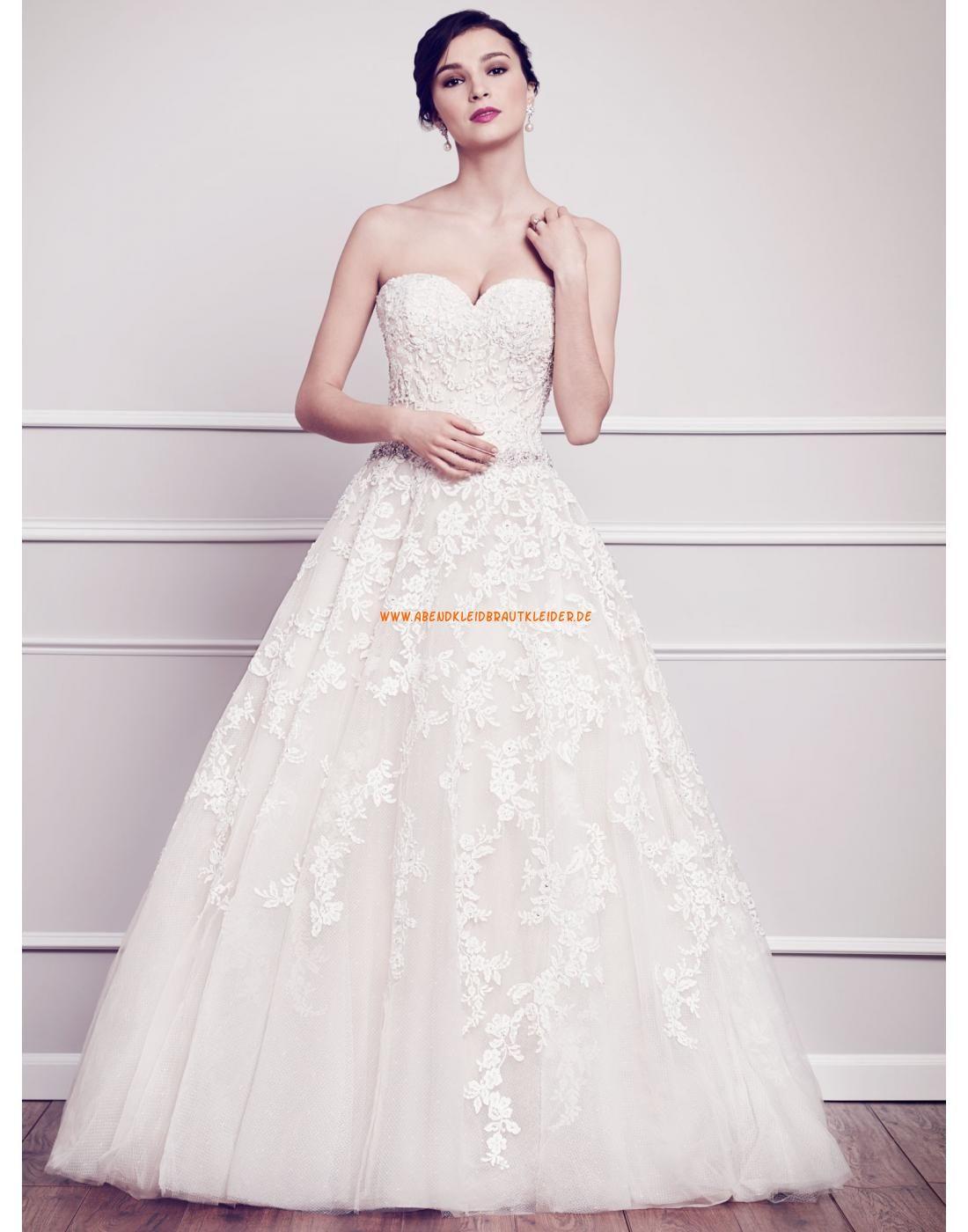 Herz-ausschnitt Lange Elegante Brautkleider aus Softnetz mit ...