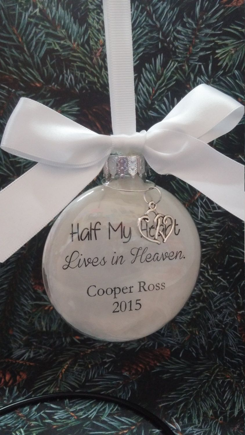 memorial christmas ornament - in memory of loved one - half my heart lives in heaven