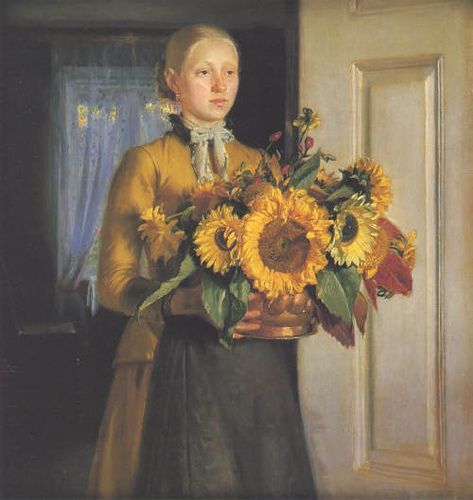 """Girl with sunflower"" Michael Ancher (1849 - 1927)"