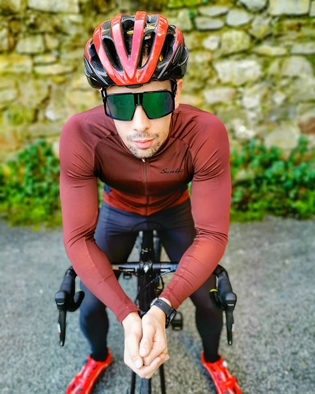Santic Mocha Wine Red Men Jersey Long Sleeve In 2020 Cycling Wear Men Wine Red