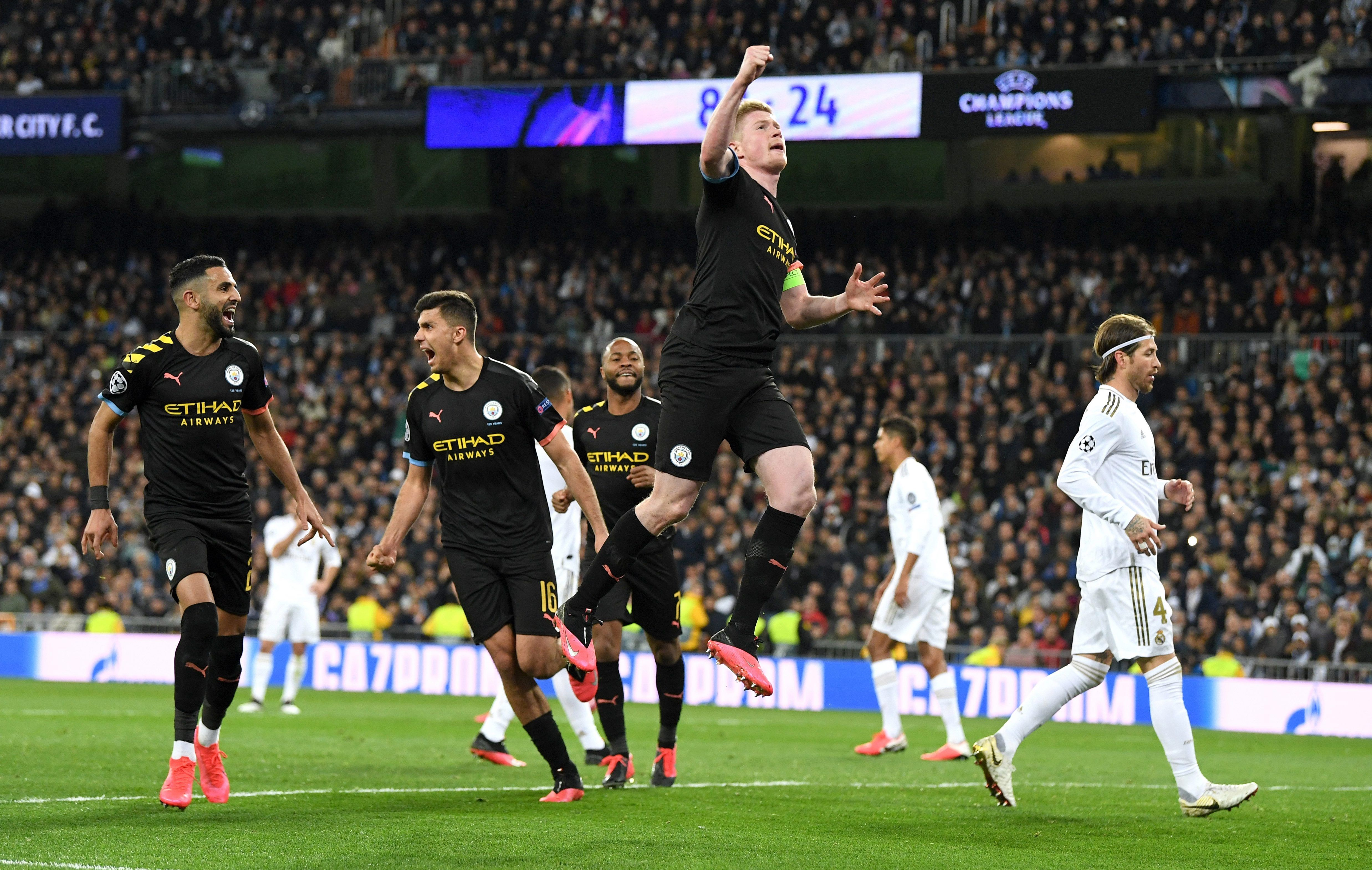 Man City Seize Control Of Real Madrid Tie With Stunning Bernabeu Comeback In Champions League Last 16 Manchester City Real Madrid Real Madrid Manchester United