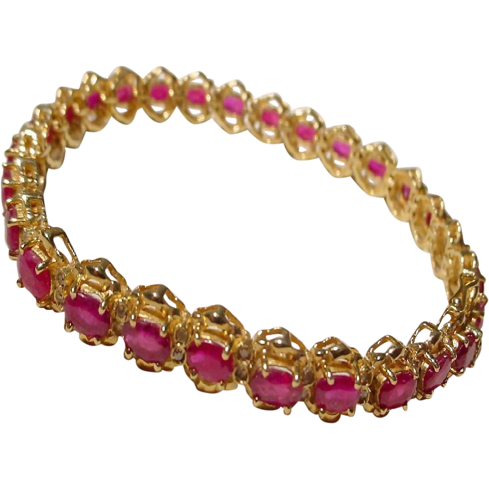 ruby diamonds y item tennis w full red supper vg gold bracelet ea l kt