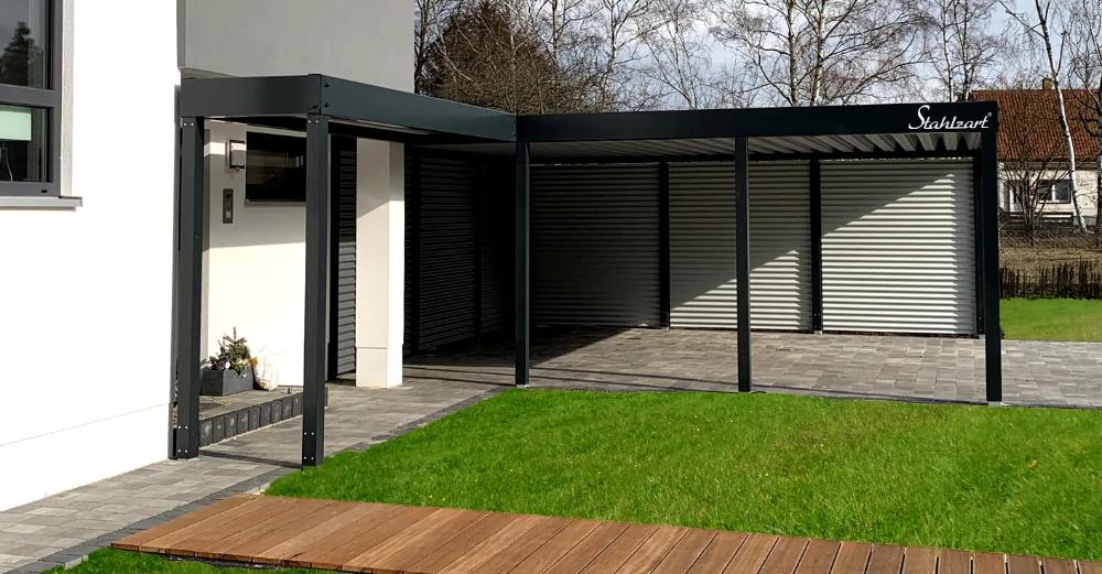 Carport Modern Prag Haus Anbau Metall Flachdach Design Stahlzart In 2020 Bauhaus Design Contemporary Architecture Carport