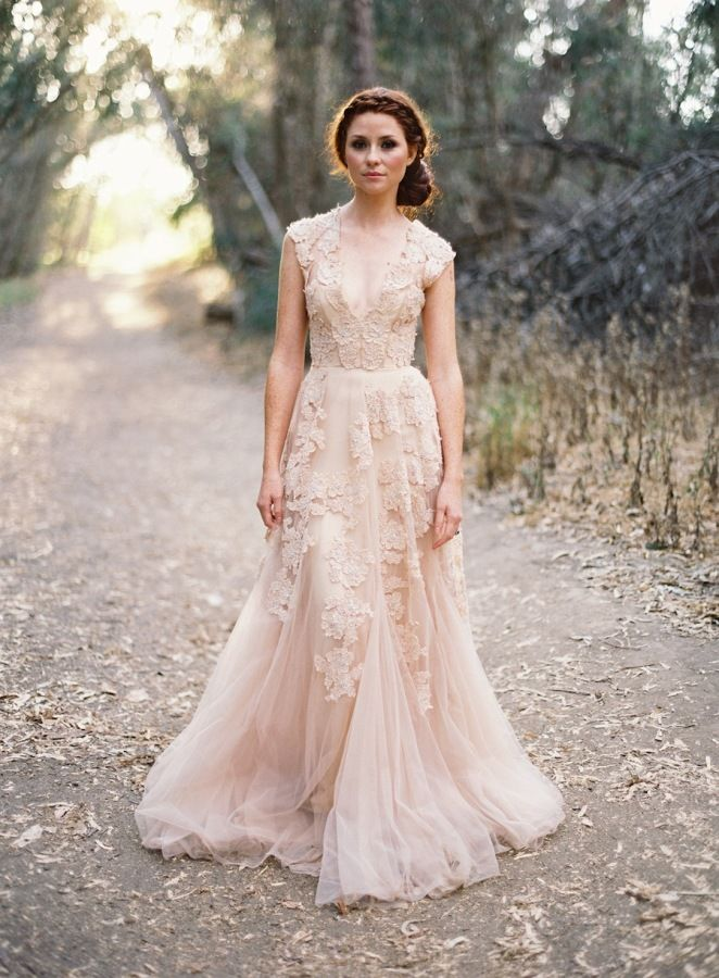 a33a43d60bbb7 Vintage-inspired Blush Lace Appliqué Slightly Trumpet Wedding Gown - Lunss  Couture