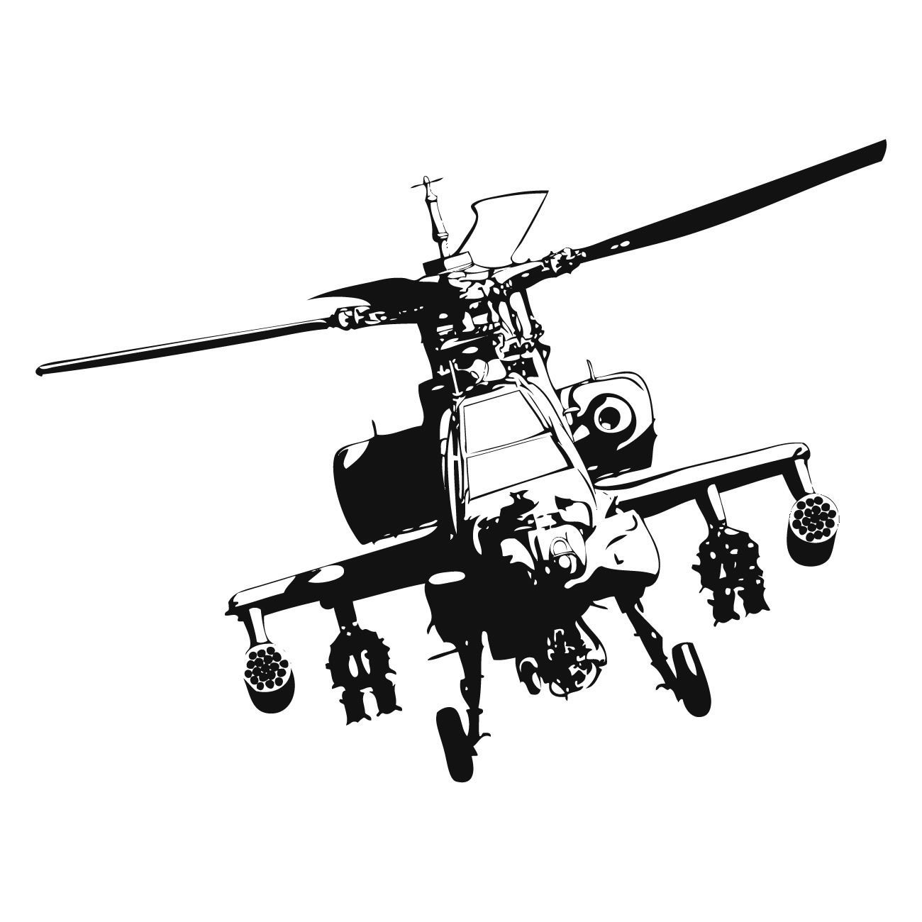 Apache Gunship Army Helicopter Wall Art Sticker Kids