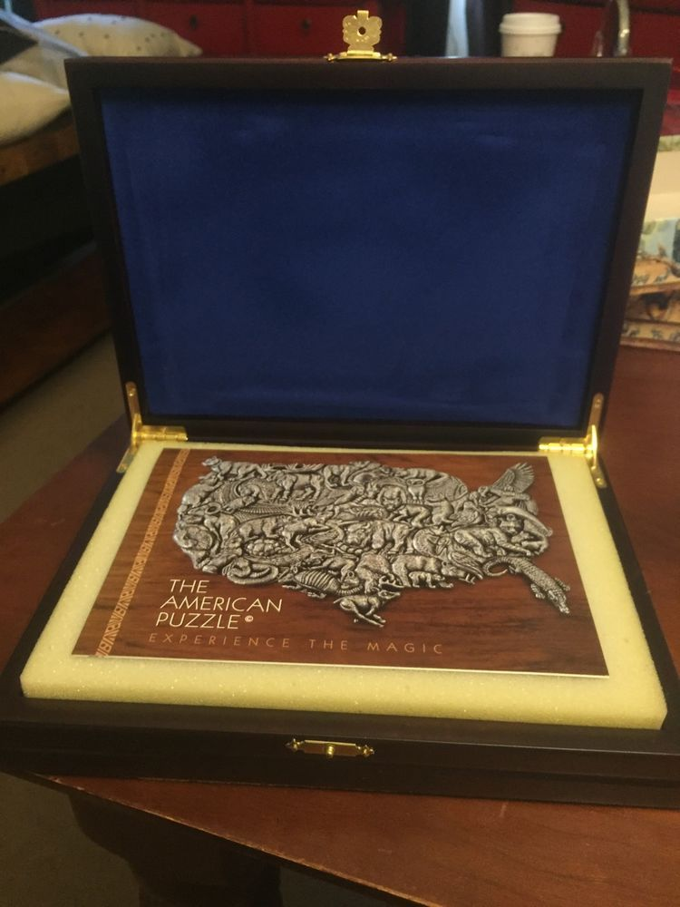 Collectible RARE The American Pewter USA Puzzle Makoulpa Wood Box Wear Pendant | eBay