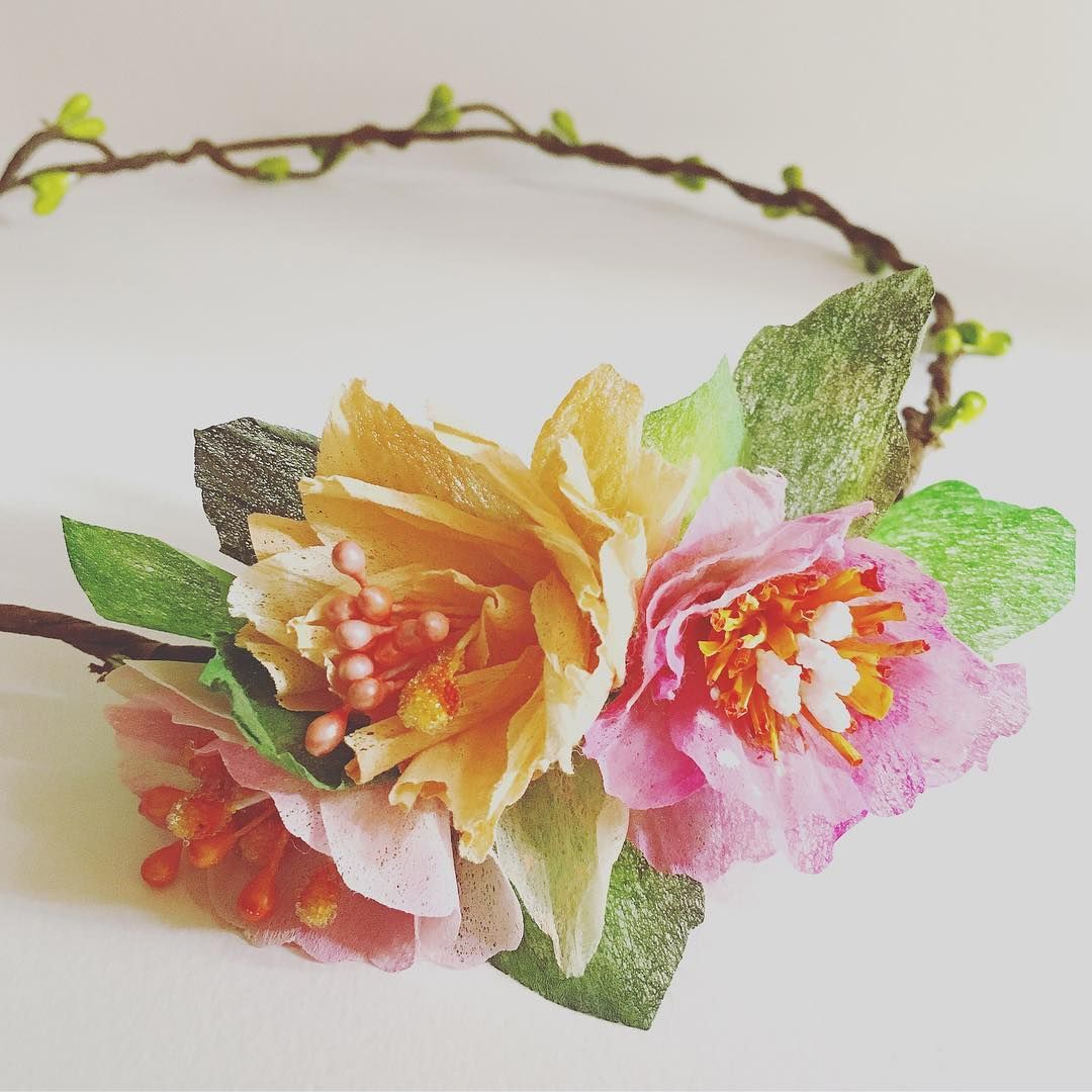 Simple Paper Flower Crown In Pink Orange Yellow And Green Paper