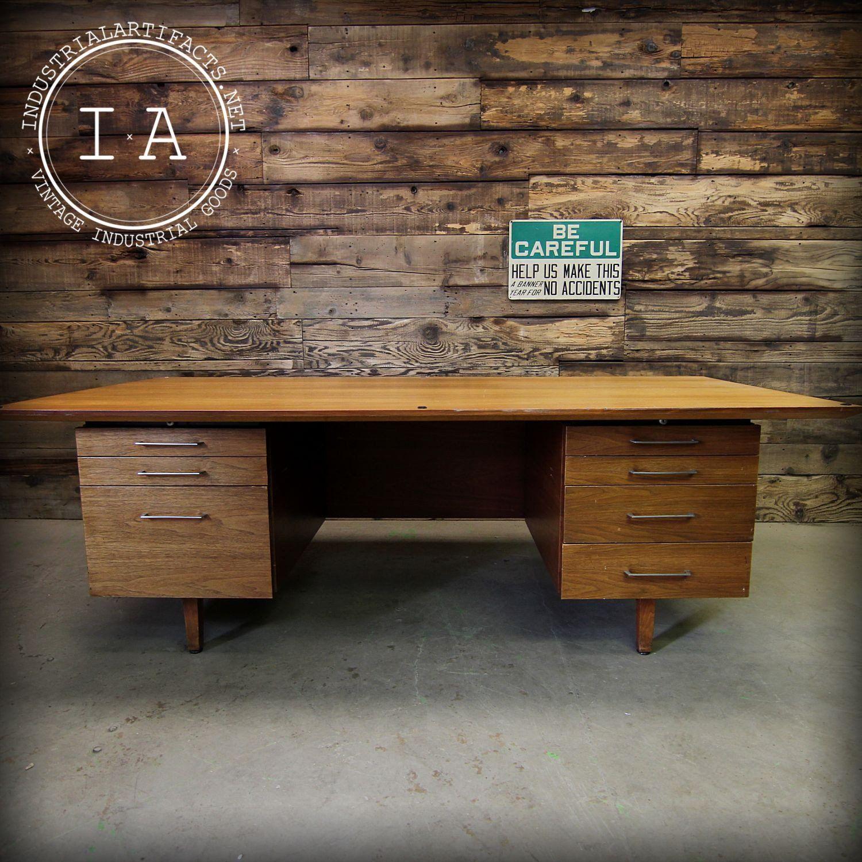 Vintage Mid Century Modern Seven Drawer Office Desk
