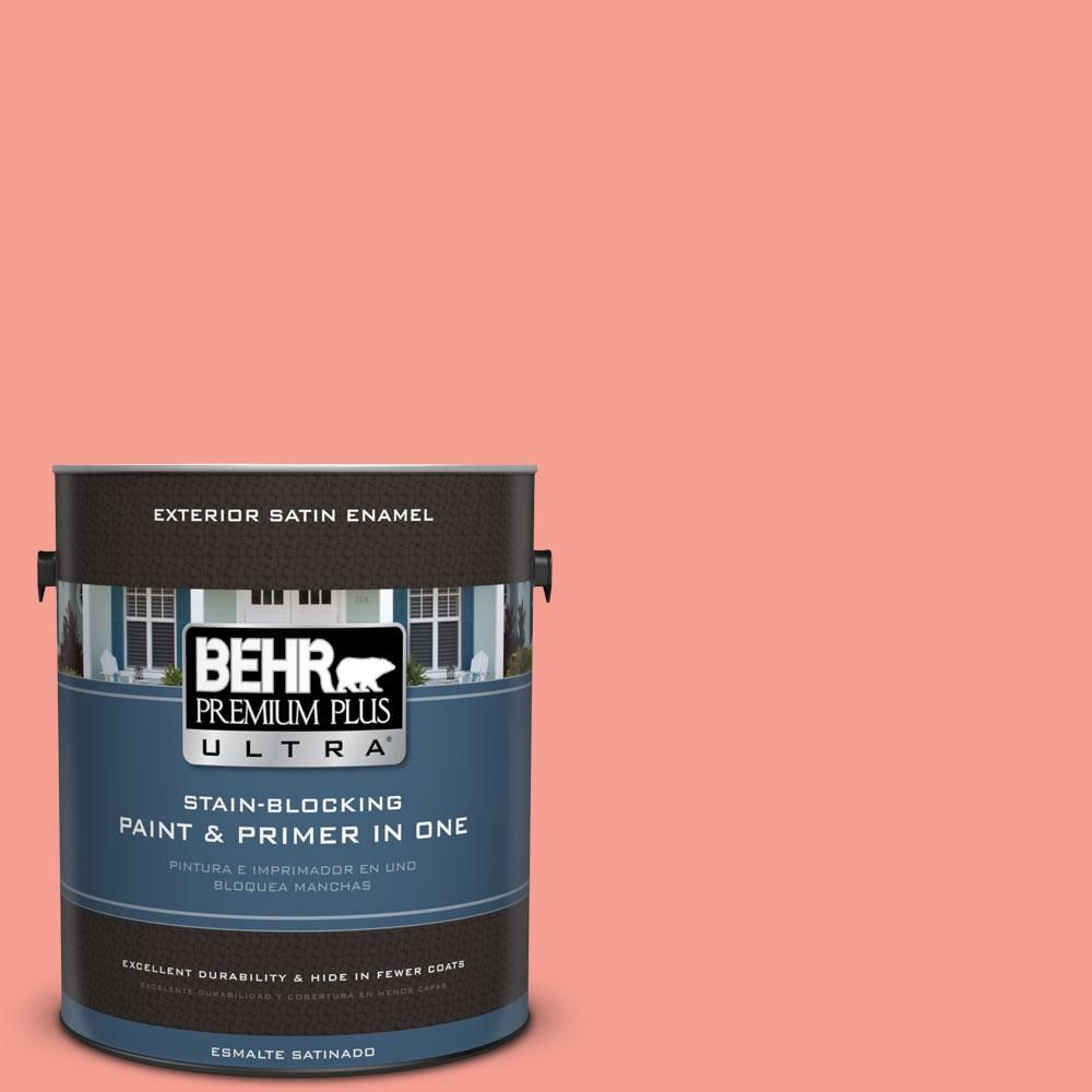 BEHR Premium Plus Ultra 1-gal. #170B-4 Cool Melon Satin Enamel Exterior Paint
