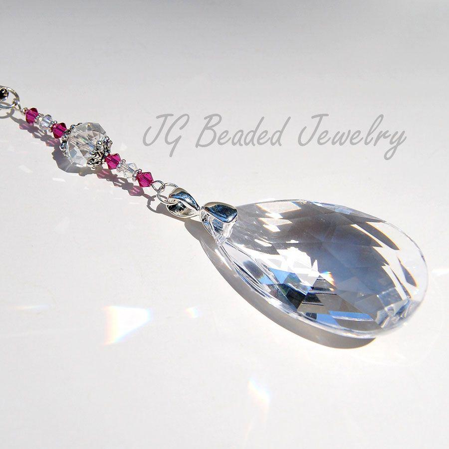 1912d8fb08612f Teardrop Prism Crystal with Fuchsia Swarovski #teardrop #suncatchers  #decoration #car #rearview #crystal #carcharm #sparkly #sparkle #prism  #rainbows ...