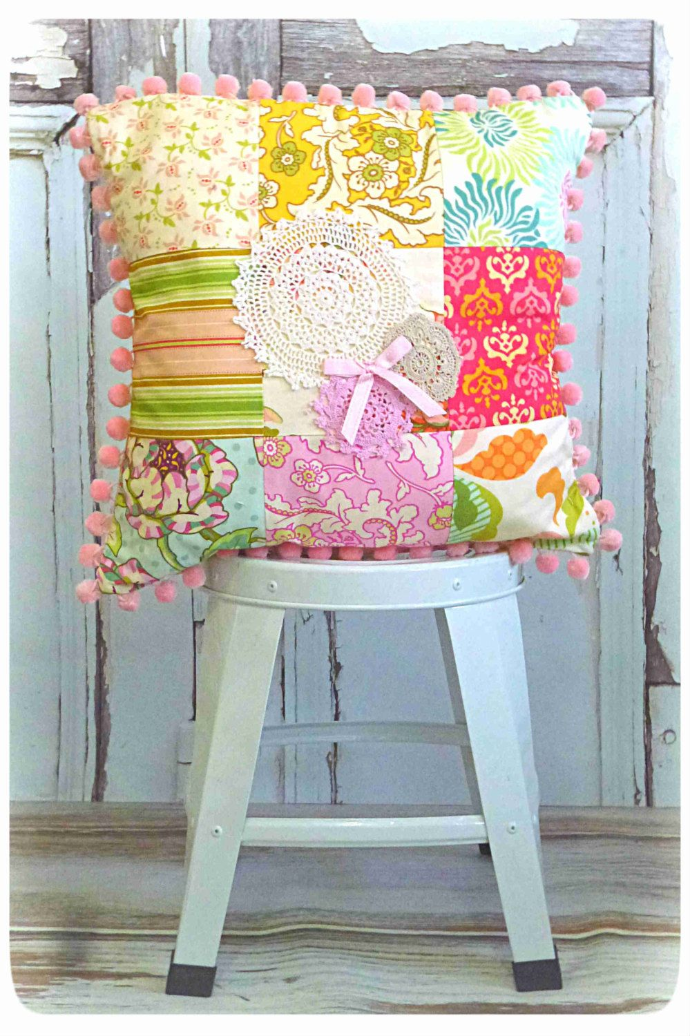 Freshcut Square Scatter Cushion - Little Girls Room Decor - Shabby Chic Vintage Doilie