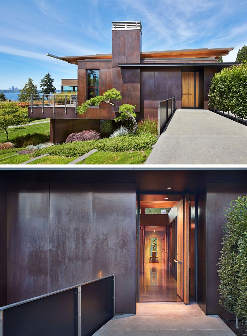 Victorian house colorful interiors for a classy exterior south yarra - Dark Stained Cedar Siding And Copper Panels Cover The Exterior Of This Mercer Island House