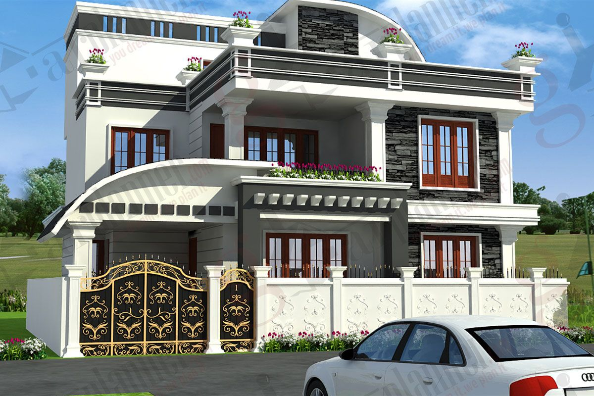 Independent house elevation designs in india house for House outside design in india