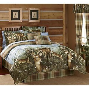 Whitetail Deer Buck Cabin Hunting Lodge Plaid Earthtone Queen Bed Comforter Set Bed Comforter Sets Queen Bed Comforters Rustic Bedding Comforters