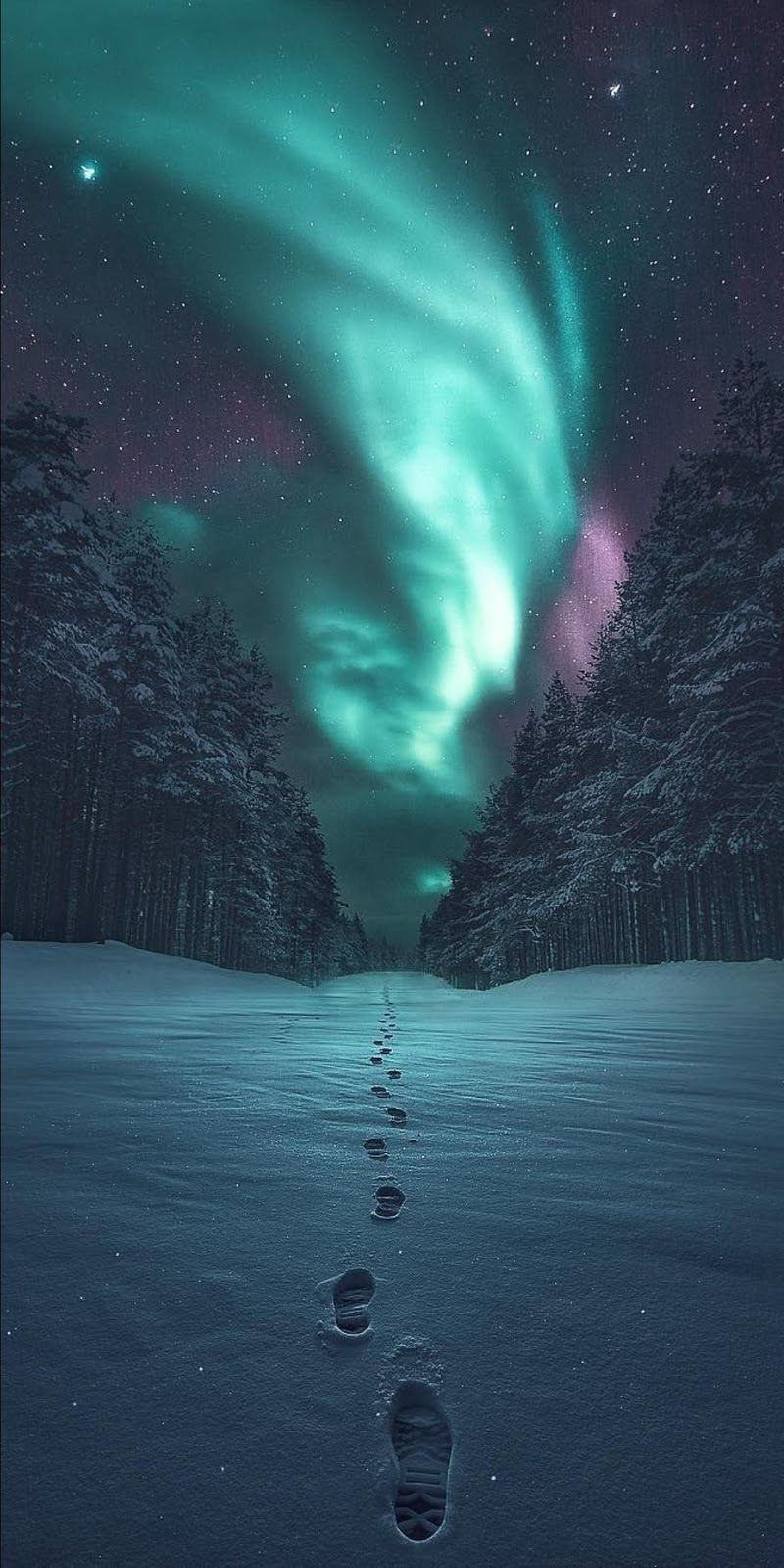 Footprint In The Snow Wallpaper Iphone Wallpaper Sky Nature Photography Night Landscape