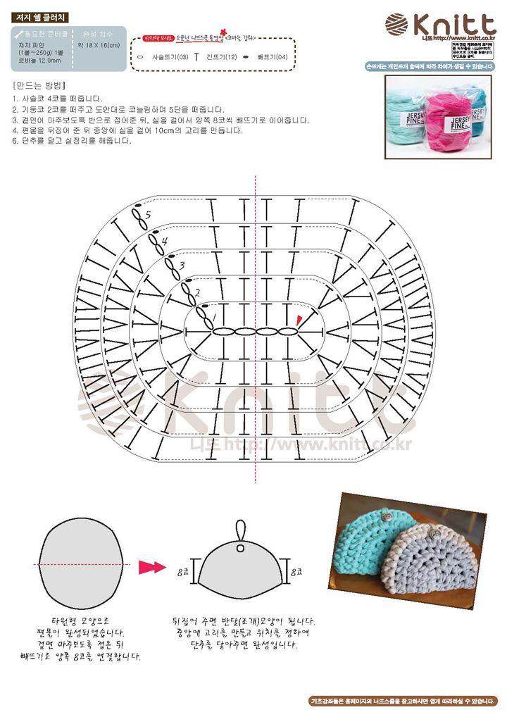 니뜨(knitt) [(무료도안) 져지 쉘 파우치] | Crochet diagram ...