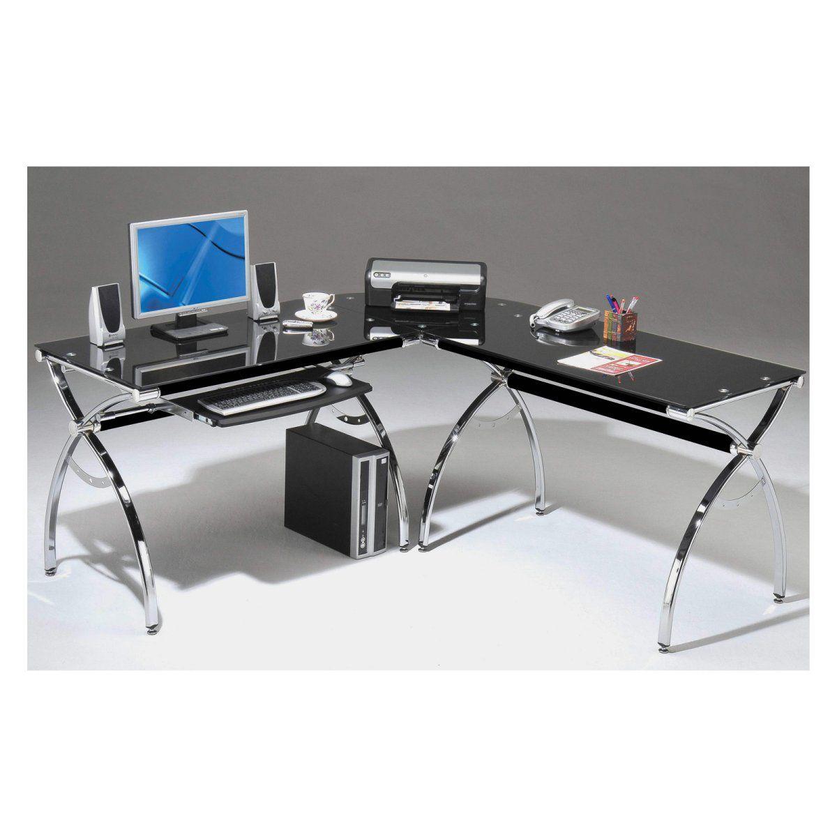 Techni Mobili L Shaped Glass puter Desk Black Chrome hayneedle