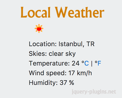 Local Weather App with jQuery and OpenWeatherMap iplocation