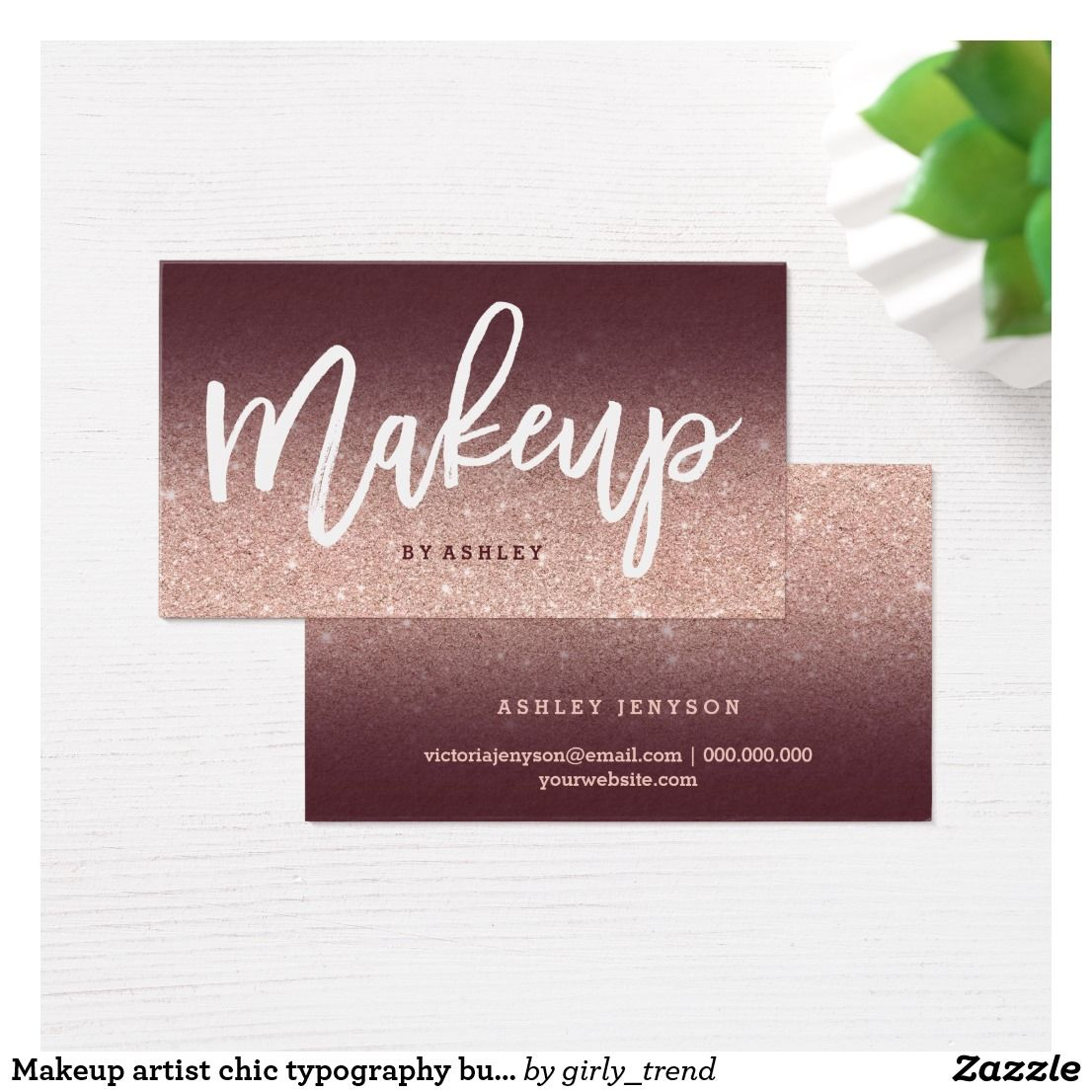 Makeup artist chic typography burgundy rose gold business card makeup artist chic typography burgundy rose gold business card magicingreecefo Images