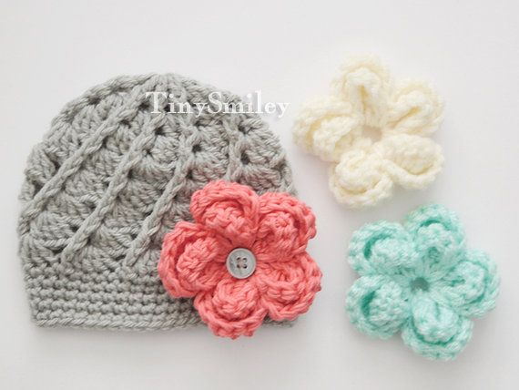 Interchangeable Crochet Flower Hat Gray Baby Girl Hat with  51cb6461208