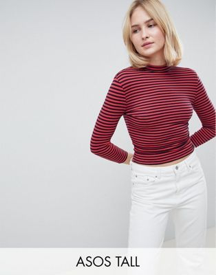 25304248d84 Shop ASOS DESIGN Tall Stripe High Neck Crop T-Shirt With Long Sleeve at ASOS.  Discover fashion online.