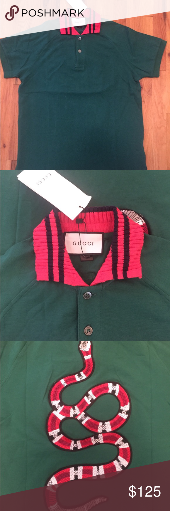 a816f6a7de11 Gucci Snake Embroidery Web Collar Polo Size Large. New With Tags. Green Red Shirts  Polos