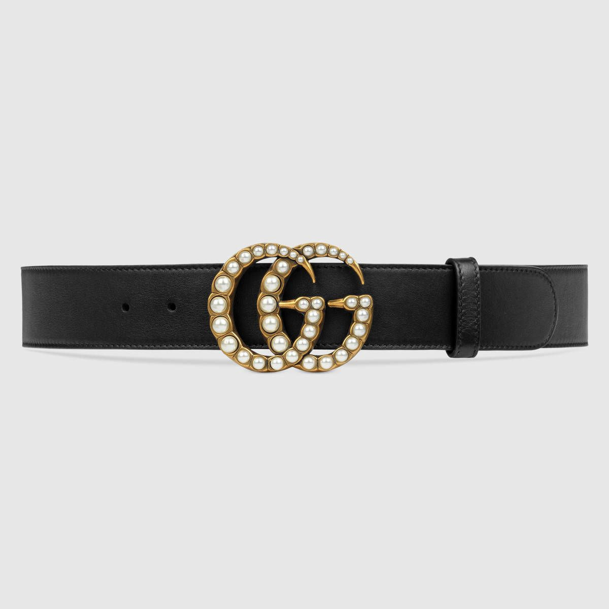 Wide leather belt with pearl Double G - Black Gucci 4gGBaP0