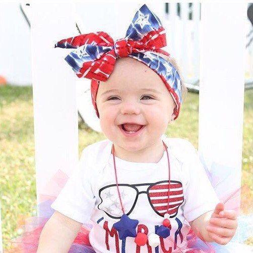Patriotic Tie Dye Wrap Big Bow Baby Turban By Brittsbowtiqueva