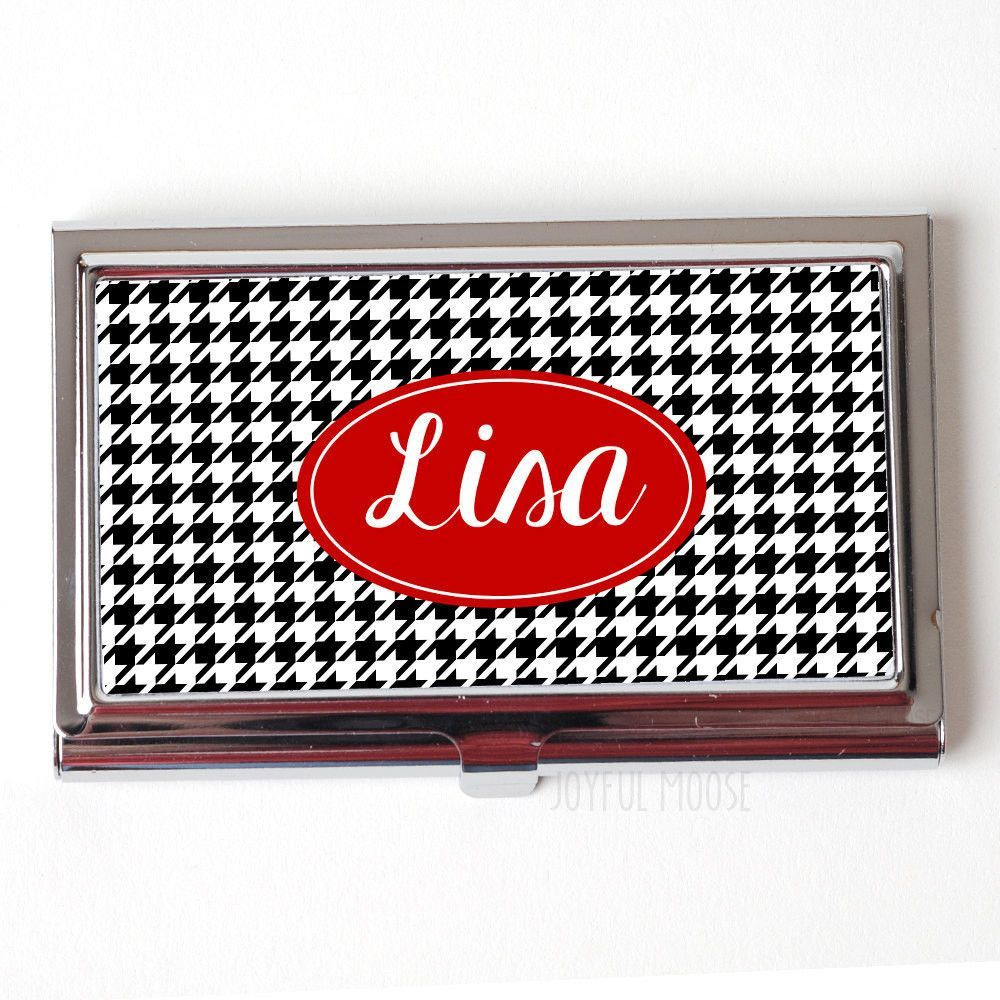 Personalized Business Card Holder - Black Houndstooth Business Card ...