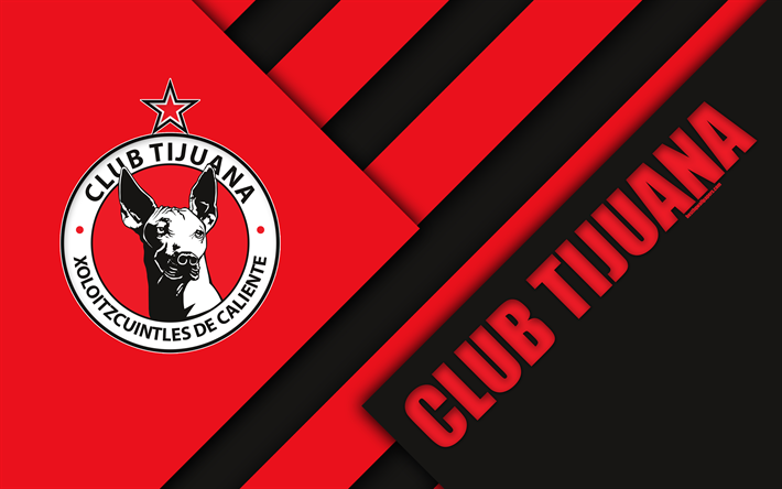 Download Wallpapers Club Tijuana Xolos De Tijuana 4k Mexican Football Club Material Design Logo Black And Red Abstraction Tijuana Mexico Primera Divisi Club Tijuana Tijuana Football Wallpaper