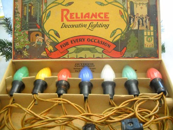Ca 1928 Reliance Decorative Lighting C9 Swirl Lamps Box