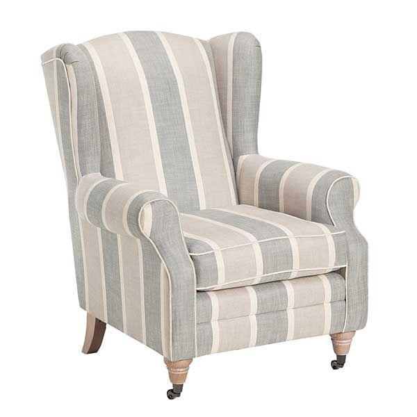 Calluna Striped Fabric Accent Chair Steel Grey Chairs Living Room Fabric Accent Chair Stripe Accent Chair Living Room Chairs
