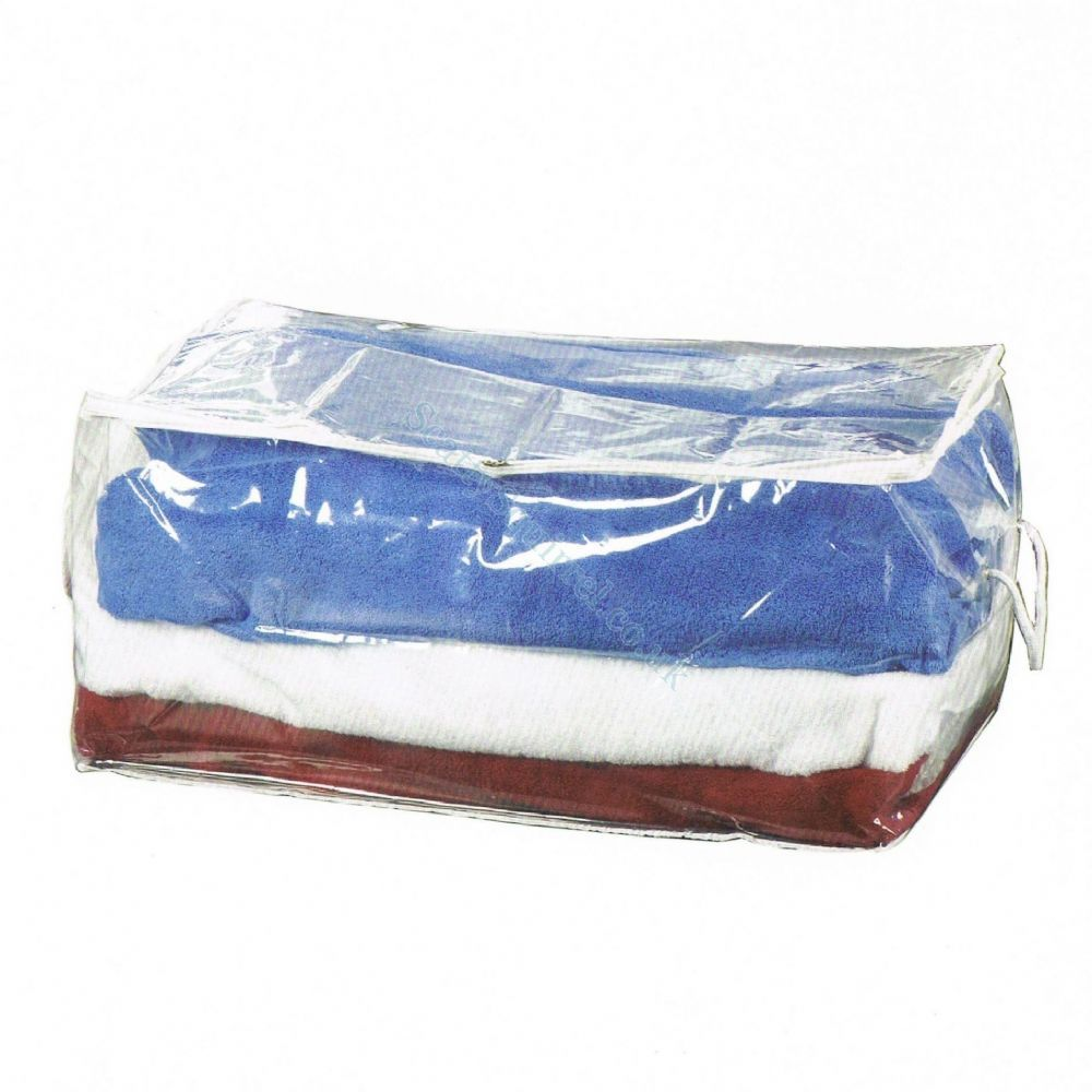 4 Pack Of 70 Litre Clear Plastic Clothes Storage Bags With Handles That Are Also Great For Bedding Strong Durable Made From Peva