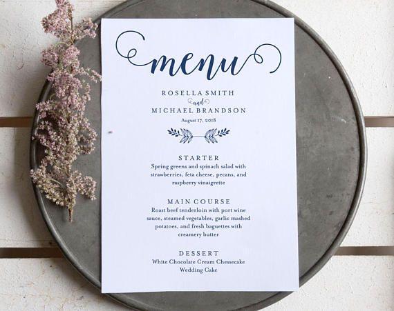 Navy Blue Wedding Menu Template, Wedding Dinner Menu, Rustic Wedding Menu, Menu Cards, Menu Printable, PDF Instant Download, WPC_827 #weddingmenutemplate