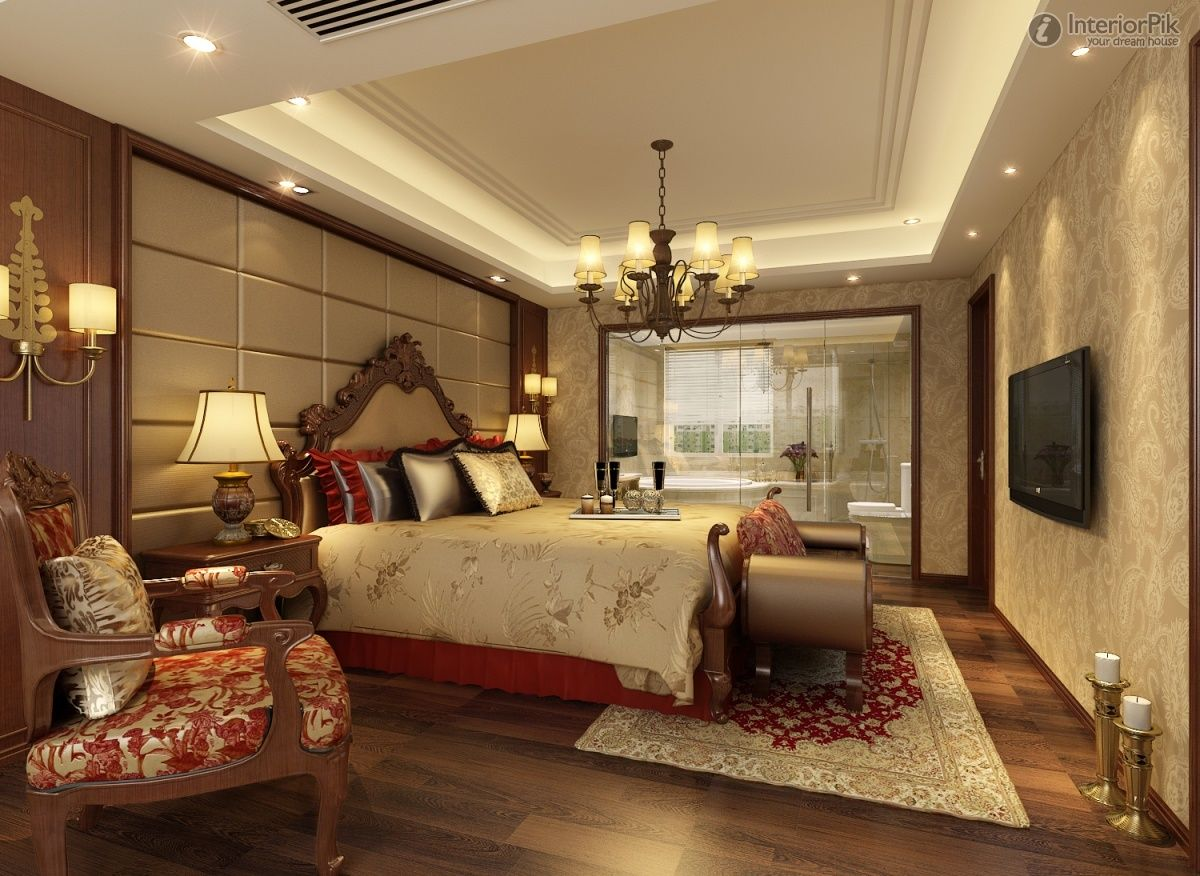 Modern master bedroom ceiling designs - European Master Bedroom Ceiling Ideas With Screen Tv And Best Designs Hardwood Floor
